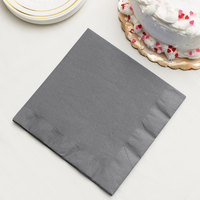 Creative Converting 339640 Glamour Gray 3-Ply 1/4 Fold Dinner Napkin - 250/Case