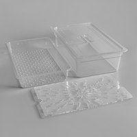 Cambro Camwear Full Size Clear Polycarbonate Food Pan with Colander Pan, Drain Tray, and Lid
