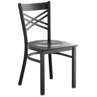 Lancaster Table & Seating Cross Back Black Chair with Black Wood Seat