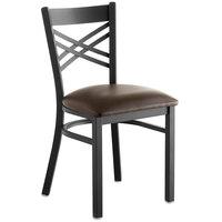 Lancaster Table & Seating Cross Back Black Chair with Dark Brown Vinyl Seat