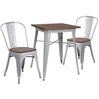 Flash Furniture CH-WD-TBCH-1-GG 23 1/2 inch Square Rustic Galvanized Steel and Wood Table with 2 Stacking Chairs