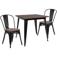 Flash Furniture CH-WD-TBCH-18-GG 31 1/2 inch Square Black Rustic Galvanized Steel and Wood Table with 4 Stacking Chairs