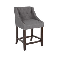 Flash Furniture CH-182020-T-24-DKGY-F-GG Carmel Series 24 inch Dark Gray Tufted Counter Height Stool with Walnut Frame and Accent Nail Trim