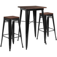 Flash Furniture CH-WD-TBCH-17-GG 23 1/2 inch Square Black Rustic Galvanized Steel and Wood Bar Height Table with 2 Backless Stools