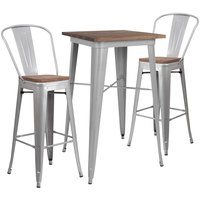 Flash Furniture CH-WD-TBCH-2-GG 23 1/2 inch Square Rustic Galvanized Steel and Wood Bar Height Table with 2 Barstools
