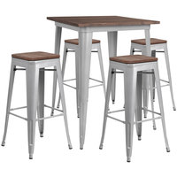 Flash Furniture CH-WD-TBCH-6-GG 31 1/2 inch Square Rustic Galvanized Steel and Wood Bar Height Table with 4 Backless Stools