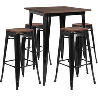 Flash Furniture CH-WD-TBCH-20-GG 31 1/2 inch Square Black Rustic Galvanized Steel and Wood Bar Height Table with 4 Backless Stools