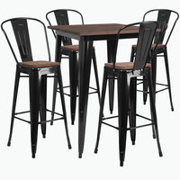 Flash Furniture CH-WD-TBCH-19-GG 31 1/2 inch Square Black Rustic Galvanized Steel and Wood Bar Height Table with 4 Barstools