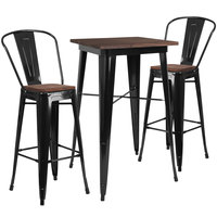 Flash Furniture CH-WD-TBCH-16-GG 23 1/2 inch Square Black Rustic Galvanized Steel and Wood Bar Height Table with 2 Barstools