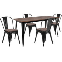 Flash Furniture CH-WD-TBCH-27-GG 30 1/4 inch x 60 inch Black Rustic Galvanized Steel and Wood Table with 4 Stacking Chairs