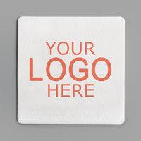 4 inch White Square 80 pt. Customizable Paper Coaster   - 1000/Case