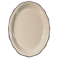 CAC SC-12B Seville 9 5/8 inch x 7 1/8 inch Ivory (American White) Scalloped Edge China Platter with Black Band - 24/Case