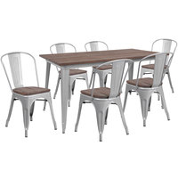 Flash Furniture CH-WD-TBCH-14-GG 30 1/4 inch x 60 inch Rustic Galvanized Steel and Wood Table with 6 Stacking Chairs