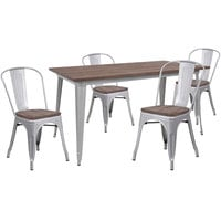 Flash Furniture CH-WD-TBCH-13-GG 30 1/4 inch x 60 inch Rustic Galvanized Steel and Wood Table with 4 Stacking Chairs
