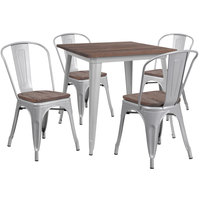 Flash Furniture CH-WD-TBCH-4-GG 31 1/2 inch Square Rustic Galvanized Steel and Wood Table with 4 Stacking Chairs