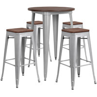 Flash Furniture CH-WD-TBCH-12-GG 30 inch Round Rustic Galvanized Steel and Wood Bar Height Table with 4 Backless Stools