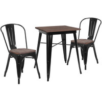 Flash Furniture CH-WD-TBCH-15-GG 23 1/2 inch Square Black Rustic Galvanized Steel and Wood Table with 2 Stacking Chairs