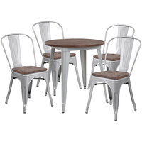 Flash Furniture CH-WD-TBCH-10-GG 26 inch Round Rustic Galvanized Steel and Wood Table with 4 Stacking Chairs