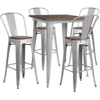 Flash Furniture CH-WD-TBCH-5-GG 23 1/2 inch Square Rustic Galvanized Steel and Wood Bar Height Table with 4 Barstools