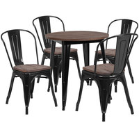 Flash Furniture CH-WD-TBCH-24-GG 26 inch Round Black Rustic Galvanized Steel and Wood Table with 4 Stacking Chairs