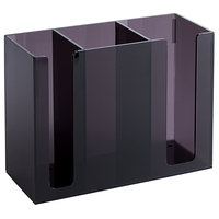 Black Plastic 3-Compartment Chopstick Organizer