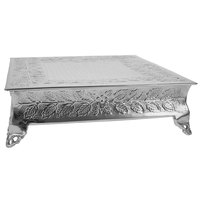 Tabletop Classics by Walco AC87718 18 inch Floral Nickel-Plated Square Cake Stand