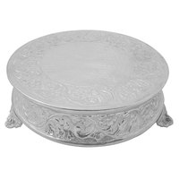 Tabletop Classics AC88524 23 1/2 inch Floral Nickel-Plated Round Cake Stand