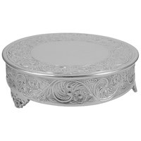 Tabletop Classics by Walco AC88524 23 1/2 inch Floral Nickel-Plated Round Cake Stand
