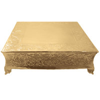 Tabletop Classics by Walco ACG87718 18 inch Floral Square Gold-Plated Cake Stand