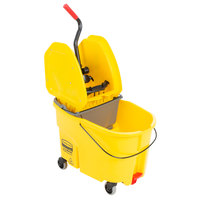 Rubbermaid WaveBrake® 44 Qt. Yellow Mop Bucket with Down Press Wringer and Gray Dirty Water Bucket