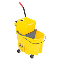 Rubbermaid WaveBrake® 35 Qt. Yellow Mop Bucket with Side Press Wringer and Gray Dirty Water Bucket