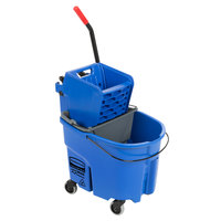 Rubbermaid WaveBrake® 35 Qt. Blue Mop Bucket with Side Press Wringer and Gray Dirty Water Bucket