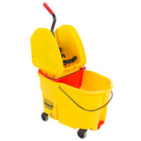 Rubbermaid WaveBrake® 44 Qt. Yellow Mop Bucket with Down Press Wringer and Red Dirty Water Bucket