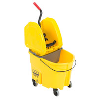 Rubbermaid WaveBrake® 35 Qt. Yellow Mop Bucket with Down Press Wringer and Gray Dirty Water Bucket