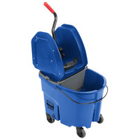 Rubbermaid WaveBrake® 35 Qt. Blue Mop Bucket with Down Press Wringer and Gray Dirty Water Bucket