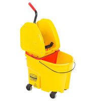 Rubbermaid WaveBrake® 35 Qt. Yellow Mop Bucket with Down Press Wringer and Red Dirty Water Bucket