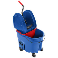 Rubbermaid WaveBrake® 35 Qt. Blue Mop Bucket with Down Press Wringer and Red Dirty Water Bucket