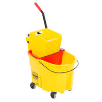 Rubbermaid WaveBrake® 35 Qt. Yellow Mop Bucket with Side Press Wringer and Red Dirty Water Bucket