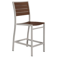 POLYWOOD A101FASMA Mahogany Euro Counter Height Side Chair with Textured Silver Frame