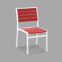 POLYWOOD A100-13SR Sunset Red Euro Stackable Dining Height Side Chair with Satin White Frame