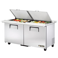 True TSSU-60-24M-B-DS-ST 60 inch Mega Top Dual Side Two Door Sandwich / Salad Prep Refrigerator