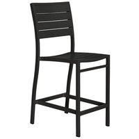 POLYWOOD A101FABBL Black Euro Counter Height Side Chair with Textured Black Frame