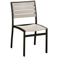 POLYWOOD A100FABSA Sand Euro Stackable Dining Height Side Chair with Textured Black Frame