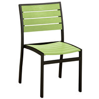 POLYWOOD A100FABLI Lime Euro Stackable Dining Height Side Chair with Textured Black Frame