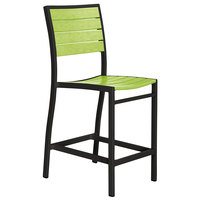 POLYWOOD A101FABLI Lime Euro Counter Height Side Chair with Textured Black Frame