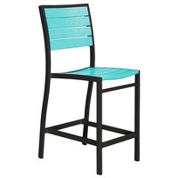POLYWOOD A101FABAR Aruba Euro Counter Height Side Chair with Textured Black Frame