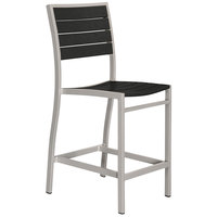 POLYWOOD A101FASBL Black Euro Counter Height Side Chair with Textured Silver Frame