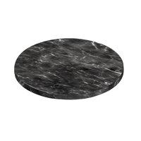 Delfin FSRD-13-M10 13 inch x 3/4 inch Round Melamine Black Faux Carrara Marble Serving Board