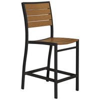 POLYWOOD A101FABTE Teak Euro Counter Height Side Chair with Textured Black Frame