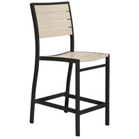 POLYWOOD A101FABSA Sand Euro Counter Height Side Chair with Textured Black Frame